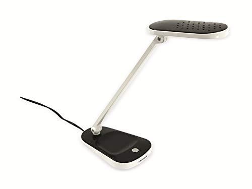 Lampe de table de bureau design moderne 27 LED Lumière blanche 5 W inclinaison cou à 120 degrés et inclinaison cloche à 180 degrés Dimension 11,5 x 6 x 37 cm couleur blanc noir