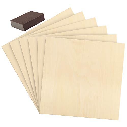 Belle Vous Holzscheiben Sperrholz (6 Stk) - 30x30cm Blanko Holz Zuschnitt Quadratisch mit Schleifschwamm – Holzplatten 2mm dick aus Naturholz zum Basteln, Stanzen, Pyrografie, Werken