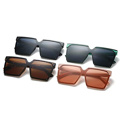 AMFG Gafas de sol cuadradas retro hombres y mujeres tendencia gran marco gafas de sol gafas de tiro de calle (Color : E)
