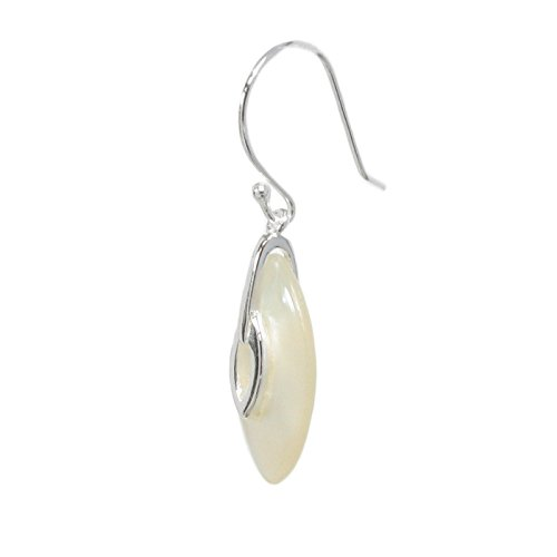 .925 Sterling Silver White Shell Mother Of Pearl Mop Oval Eye Charm Dangle French Hook Earwire Earring Gift Set