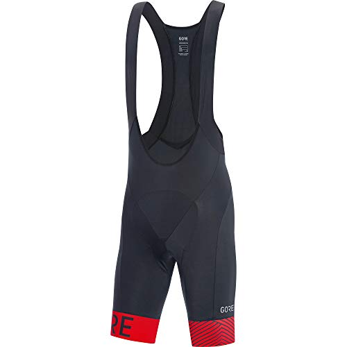 GORE Wear C5 Men's Short Cycling Bib Shorts With Seat Insert, L, Black/Rot