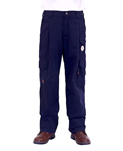 FR Pants for Men Cargo Pockets Flame Resistant 7.5oz 100% Cotton Elastic Waist Welding Pants Navy