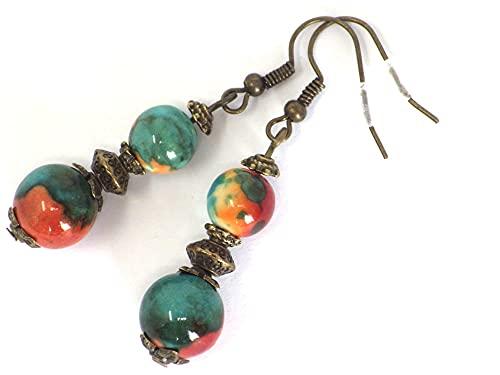 Estilo vintage Pendiente colgante perlas naturales jade blanco teñidos en azul, marrón y naranja