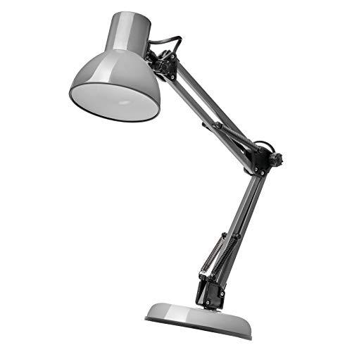 EMOS Design Schreibtischlampe LUCAS, Vintage Tischleuchte mit E27-Fassung/Metall Nachttischlampe mit Netzteil/graue Leselampe mit einstellbarem Arm