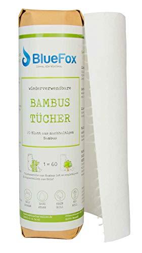 BlueFox I Bambus Küchenrolle -Papiertücher- waschbare & Wiederverwendbare Küchentücher I umweltfreundliche Allzwecktücher I saugstarke & reißfeste Haushaltsrolle I ersetzt ca.60 Papierrollen