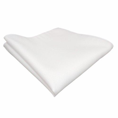 TigerTie Einstecktuch weiss einfarbig mit rauer Oberfläche - Pochette Stecktuch Kavalierstuch Tuch Polyester