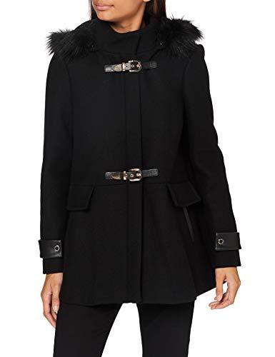 Morgan Manteau Caban Boucles Métal Capuche Gcalis Abrigo de Mezcla de Lana, Negro, T40 para Mujer