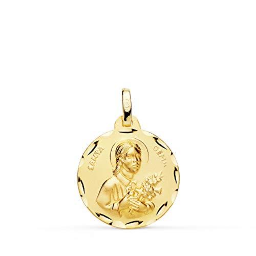 Santa Gema Medalla Unisex Oro 18 Ktes Tamaño 18 mm
