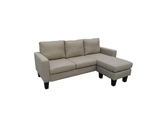 Happy Cabrio Hoekbank, hoekbank, met omkeerbare chaise longue, L-vormige bank met modern linnen stof beige