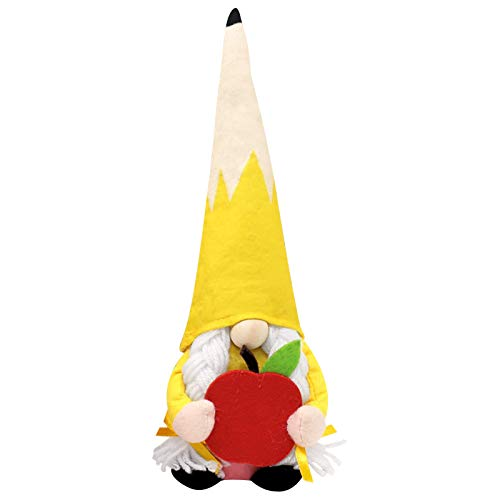 Teachers Scandinavian Gnomes with Apple Pencil Plush, Home Decoration Ornaments of Dwarf Dolls from Students End of The School Year Decoration Ideas (A)