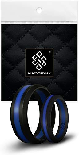 Teoría de nudos silicona anillos de boda y # x2605; Diseño discreto por galardonado funda y # x2605; Premium calidad y estilo, Black / Blue Line Bevel