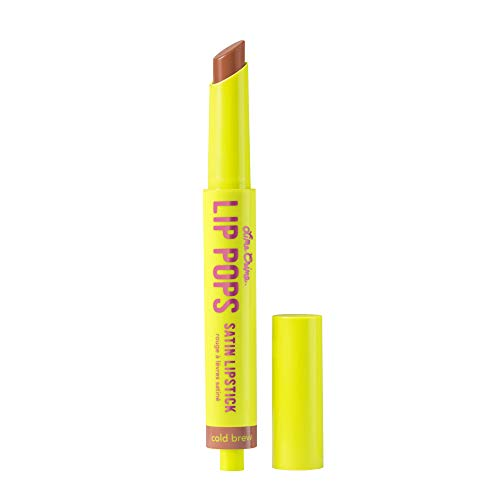Lime Crime Lip Pops Satin Lipstick, Cold Brew - Cool Taupe Brown Hue - Lightweight, Satin Finish Lipstick with Buildable Coverage - Lemon Lime Scent - Vegan
