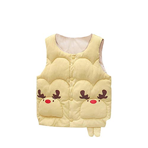 WAOTIER Chaqueta de manga larga para niños de 6 meses a 5 años, chaqueta de invierno cálida con diseño de cuernos de color caramelo con cremallera amarillo 130 cm