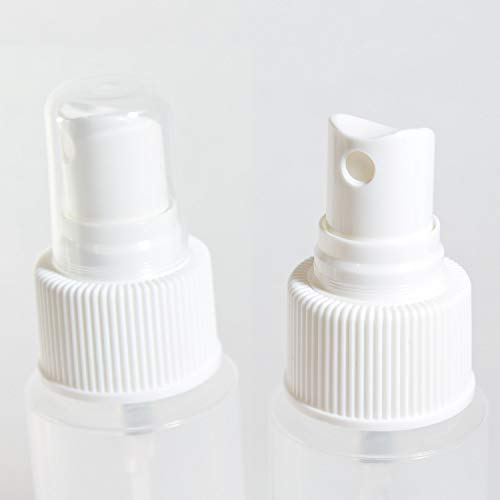 2oz Clear Plastic Spray Mist Bottles - Set of 3 - Empty Bottles with Pump Spray Cap - Travel Size 2 Ounce - By Chica and Jo
