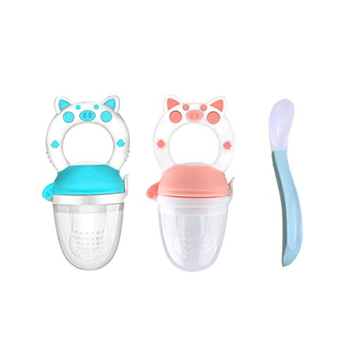 2 Pack Baby Fruit Feeder Pacifier, Fresh Food Feeder with Silicone Spoon, Infant Silicone Teether Feeder Fruit Teething Toy, Silicone Pouches for Toddlers & Kids (Blue & Pink)