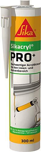 Sikacryl PRO+ Acryldichtstoff mit 12,5% Bewegungsaufnahme für Anwendungen im Innen- und Aussenbereich 300ml weiss