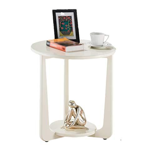 YULAN Canapé américain Table d'appoint Style européen Table Basse Ronde Simple Salon Table d'appoint Petit Appartement Lit Coin (Color : White)