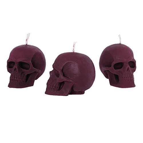 NKlaus 3x Set de velas Violeta de cráneo hechas de cera de