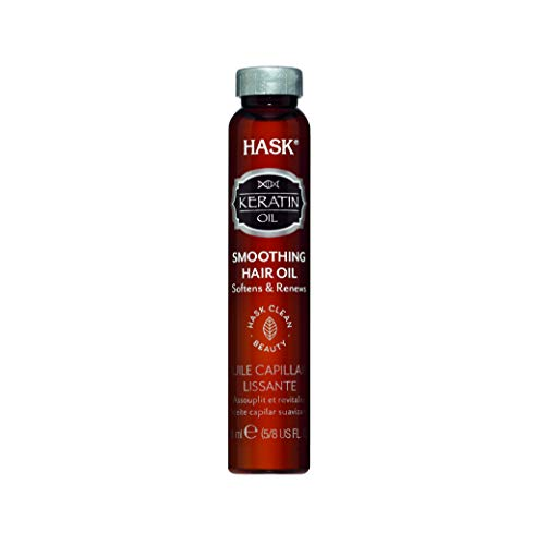 HASK Keratin Protein Shine Oil Vial Smoothing for All Hair Types, Color Safe, Gluten/Sulfate/Paraben Free, White