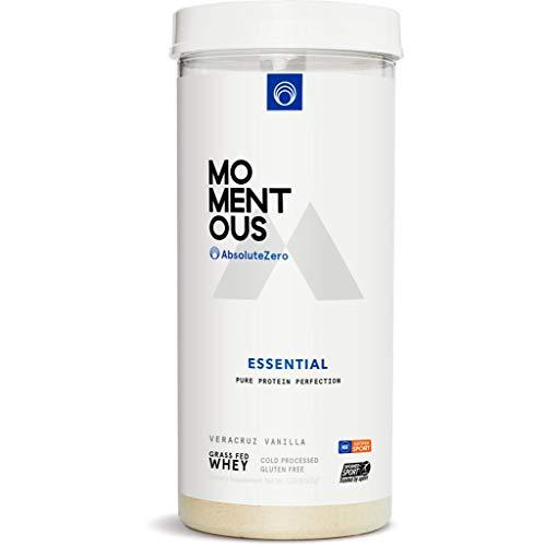 Momentous Essential Grass-Fed Whey Protein Isolat, 24 Portionen pro Dose für den täglichen Gebrauch, glutenfrei, NSF-zertifiziert (Vanille)
