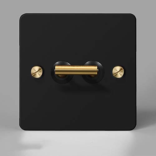 Ploutne Latón con estrías del interruptor de palanca Mate Negro Industrial Metal retro interruptor interior interruptor de control del accesorio lámpara de pared de panel del interruptor 86 de tipo oc