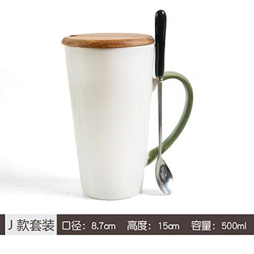 Tazza caffetteria Hotel 11 Colori Opzionale Tazza in Ceramica di personalità ad Alta capacità Cucchiaio con Coperchio Tazza di caffè Semplice Tazza di Acqua Coppia Set da tè J 500 ml
