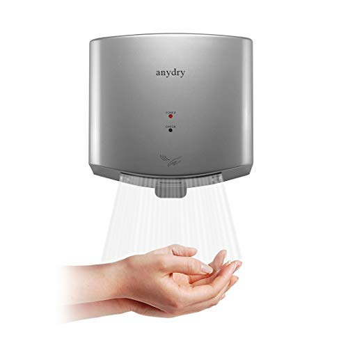 anydry AD2630 Secador de Manos Compacto automático de Alta Velocidad,Comercial y hogar,Cubierta de ABS,1400W,Plata