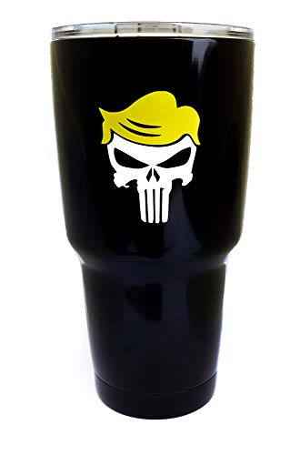 30 oz Stainless Steel Vacuum Insulated Tumbler with Lid - Double Wall Travel Mug Water Coffee Cup for Ice Drink & Hot Beverage, Punisher Trumpisher