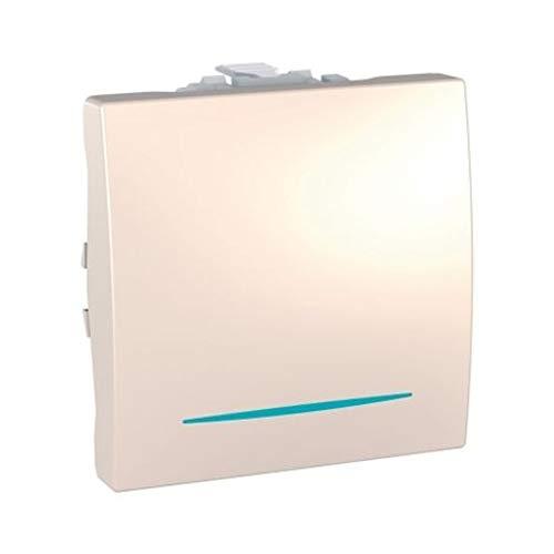 Pulsador de timbre, con localización led, 2 módulos, 10A, color marfil (Schneider Electric MGU3.206.25CN)