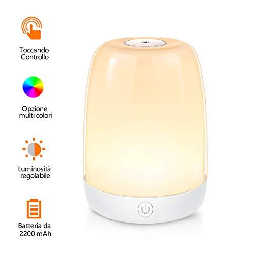 Lampada da Comodino LED, Tanbaby Lampada Notturna LED con 3 Luminosità di Luce Calda+ Luce Muliticolore Regolabile RGB Lampada da Comodino per camera da letto, soggiorno, ufficio, esterno e festa