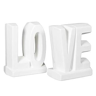 White Glazed Ceramic LOVE 7 Inch Bookend Set