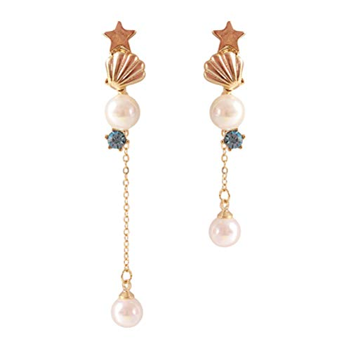 Fenical 925 Silver Earrings Cute Shell Pearl Star Earrings Fashion Nautical Long Stud Earrings for Women Barbecues Party Jewellery Accessories