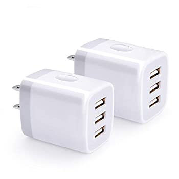 USB Wall Charger Hootek 2Pack USB Wall Plug 3-Port Charging Box 3.1A Power Adapter Multi Port Quick Charger Block Cube Compatible iPhone 11 Pro XS MAX XR X 8 7 6 Plus iPad Samsung Galaxy S20 FE LG