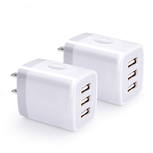 USB Wall Charger, Hootek 2Pack USB Wall Plug 3-Port Charging Box 3.1A Power Adapter Multi Port Quick Charger Block Cube Compatible iPhone 13 12 11 Pro XS MAX XR X 8 Plus,iPad,Samsung Galaxy S21 S20,LG