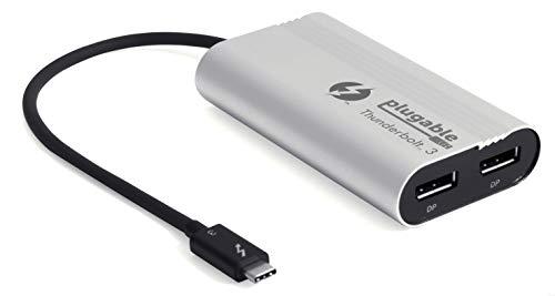Plugable Thunderbolt-3-Dual-DisplayPort-Ausgangs-Displayadapter für Thunderbolt-3-Windows-Systeme (nur Windows, Nicht Mac-kompatibel, unterstützt Zwei 4K-60Hz-Monitore oder einen 5K-Monitor)