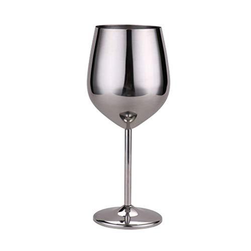 Copa de vino de acero inoxidable, mango de metal, irrompible, copas de vino blanco / cóctel / irrompibles, sin BPA, zumo, bebida, vaso de champán, fiesta, bar (plateado)