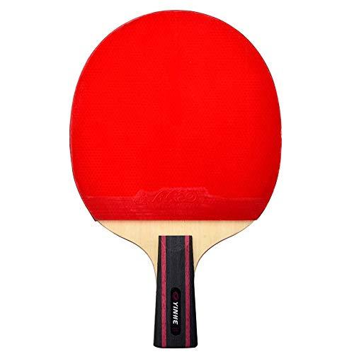 Lerten Raquetas de Tenis de Mesa,Bate de Tenis de Mesa Profesional de 6 Estrellas 7 Capas de Madera Pura Adhesivo Inverso Raqueta Individual Ligera CóModa Mango/A/Mango corto