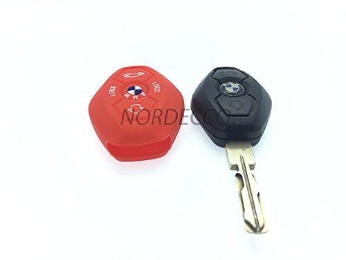 Silicone de Haute Qualité à distance 3/4 boutons FOB Housse de protection pour BMW 3 E35 E46 E90 E39 38 36 E91 E60 65 66 67 E61 E53 BMW 3 5 6 7 modèle de la série M Sport 3 M3 M5 X5 X6 7 Z3 Z4 (Rouge)