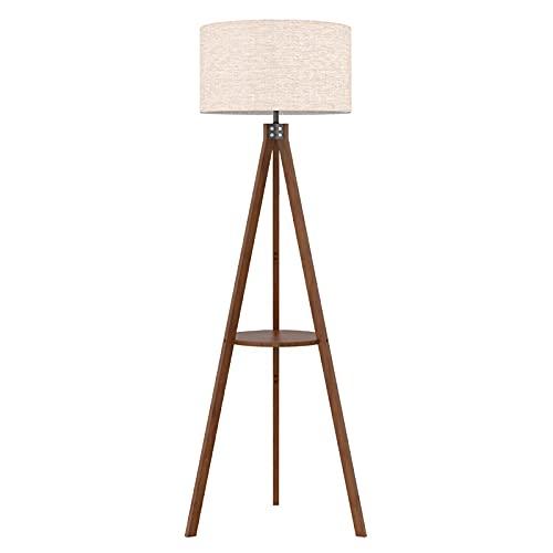 LEPOWER Shelf Tripod Floor Lamp, Mid Century Standing Lamp, Modern Design Studying Floor Light for Living Room, Bedroom, Office , Flaxen Lamp Shade...