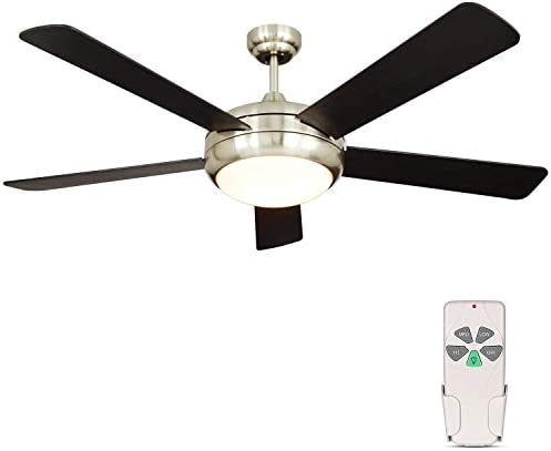52 Inch Indoor Brushed Nickel Ceiling Fan with Dimmable Light Kit and Remote Control Modern product image