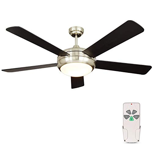 Hykolity 52 Inch Indoor Brushed Nickel Ceiling Fan with Dimmable Light Kit and Remote Control, Modern Style, Reversible Motor, ETL for Living room, Bedroom, Basement, Kitchen