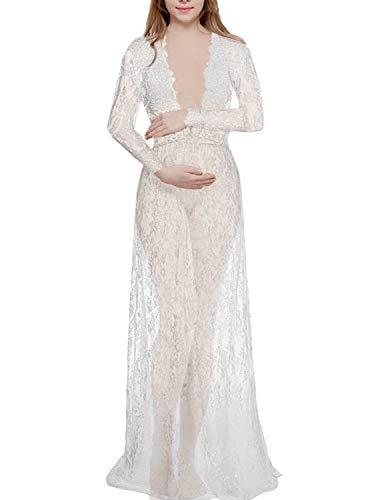 BUOYDM Mujer Embarazada Encaje Elegante Foto Shoot Vestidos,Cuello en V Profundo Manga Larga Maxi Vestido de Playa Vestido de Maternidad Disparar Vestido Blanco L