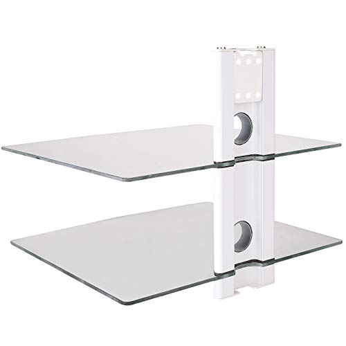 DRALL INSTRUMENTS Multimedia Wandregal Glasablage für DVD Bluray Player Spielkonsolen Hi-FI Receiver Wandhalterung weiß/Glas Modell: GL11CW
