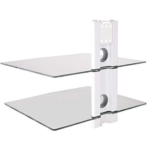 DRALL INSTRUMENTS Multimedia Wandregal Glasblage für DVD Bluray Player Spielkonsolen Hi-FI Receiver Wandhalterung weiß/Glas Modell: GL11CW