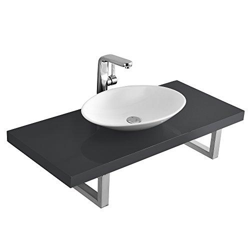 [Neu.Haus] Encimera de baño con Lavabo Gris Brillo Intenso (50x35,5x10cm - 100x45cm)