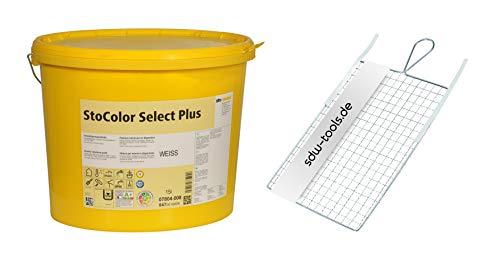 StoColor Select Plus weiß 15 LTR Set mit Rollsieb (1 Eimer/1 Rollsieb), Innenfarbe Wandfarben