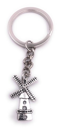 H-Customs Moulin à Vent Grain Porte-clés Pendentif en métal argenté