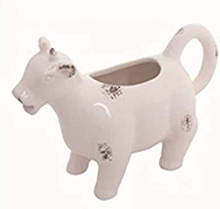 TII White Ceramic Cow Shaped Creamer Pitcher, 6.25