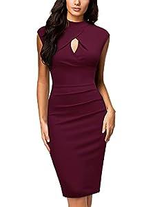 Miusol Women's Business Slim Style Ruffle Work Pencil Dress,X-Large,B-Wine by