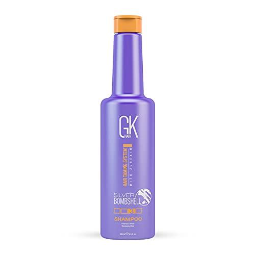 GK HAIR Global Keratin Silver Bombshell Purple Shampoo (9.5 Fl Oz/280ml) For Blonde, Platinum, Ash, Silver & Gray Hair Moisturizes Dry & Damaged Removes Yellow Brassy Tones
